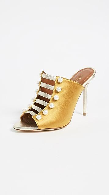 Malone Souliers Zada Sandal Mules - Mustard/Platino