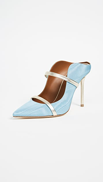 Malone Souliers Maureen 100mm Mules - Powder Blue/Platino