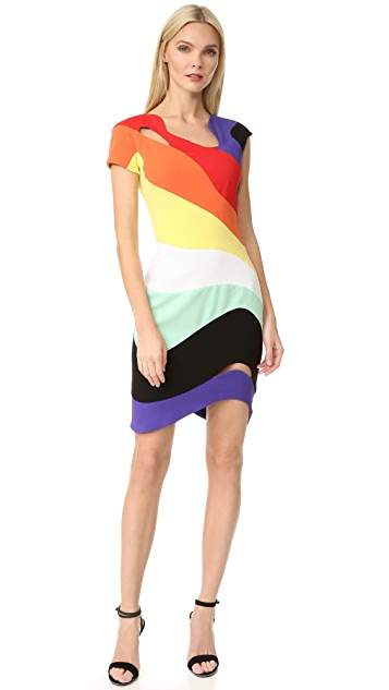 Mugler Short Sleeve Rainbow Dress
