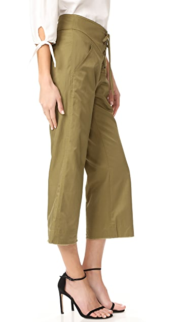 Marissa Webb Parker Cropped Lace Up Pants