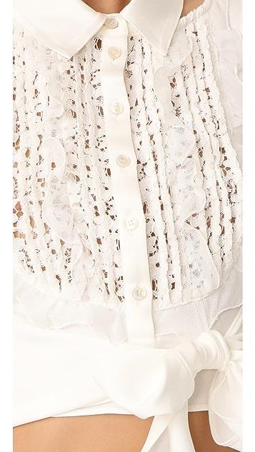 Marissa Webb Shilo Crepe & Lace Blouse