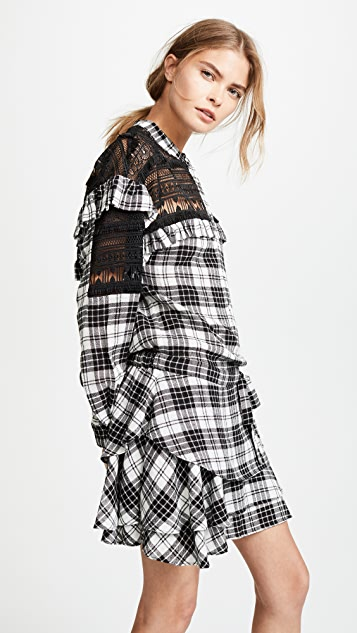 Marissa Webb Pailey Plaid & Lace Dress