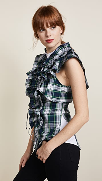 Marissa Webb Irene Plaid Blouse