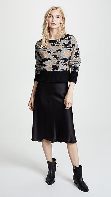 Marissa Webb Freda Cropped Camo Sweater