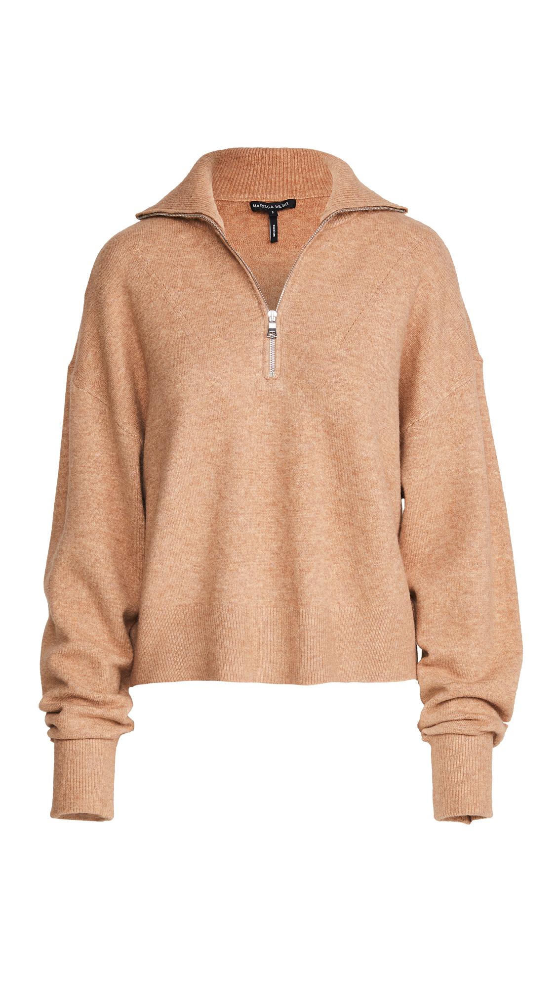 Marissa Webb Wesley Boyfriend Fit Zip Front Sweater