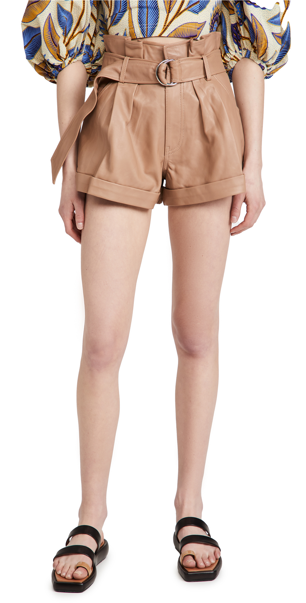 Marissa Webb Dixon Leather Paper Bag Shorts