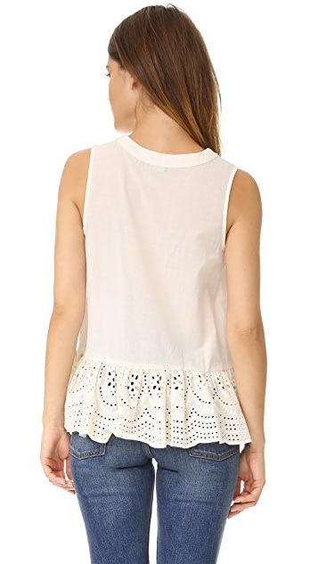 Maven West Kayla Lace Up Peplum Top