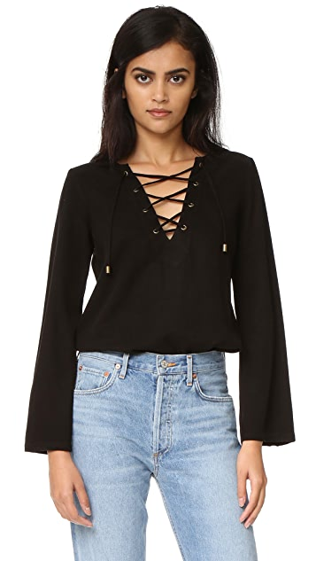 Maven West Katy Lace Up Bell Sleeve Top