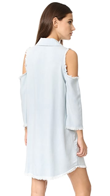 Maven West Sara Cold Shoulder Frayed Dress