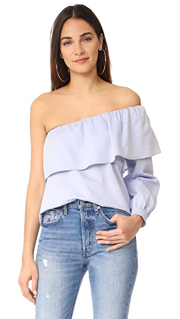 Maven West One Shoulder Ruffle Top