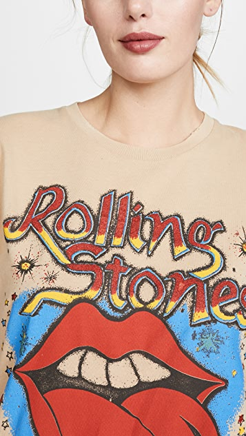 MADEWORN ROCK Футболка с блестками и изображением Rolling Stones
