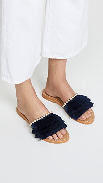Mystique Fringe Slides with Imitation Pearls
