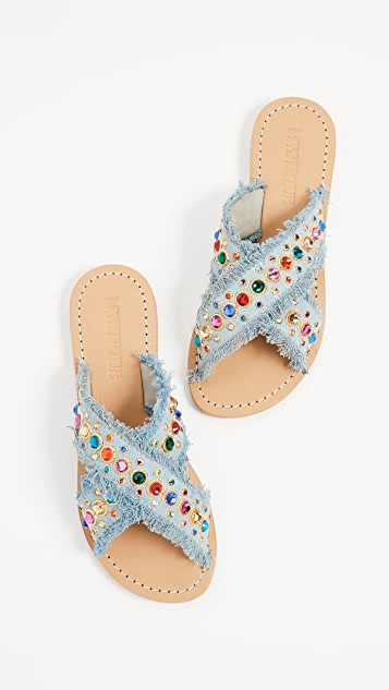 Mystique Crisscross Jewel Slides