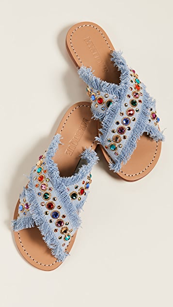 Mystique 镶珠宝牛仔布便鞋