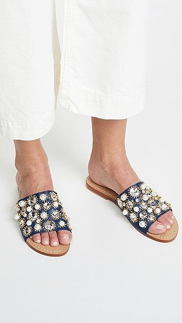 Mystique Яркие сандалии без застежки с камнями