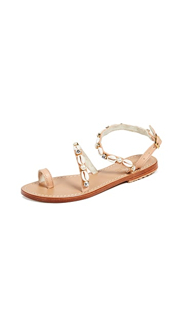 Mystique Sea Shell Strap Toe Ring Sandals