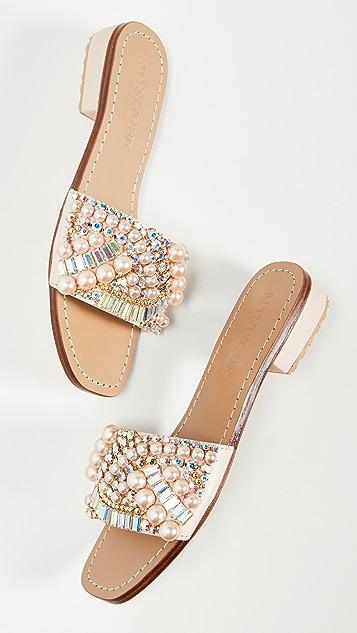 Mystique 水晶和珍珠便鞋