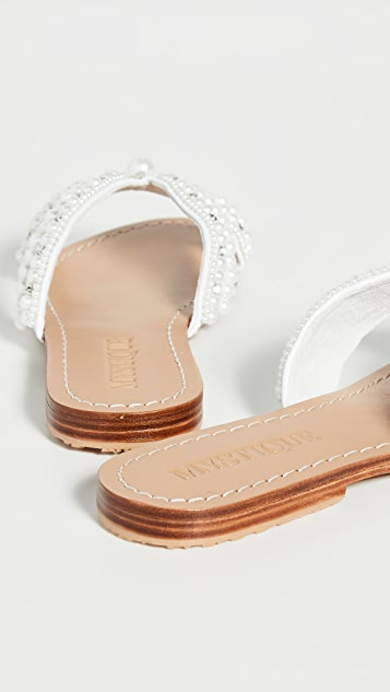 Mystique 人造珍珠无跟便鞋