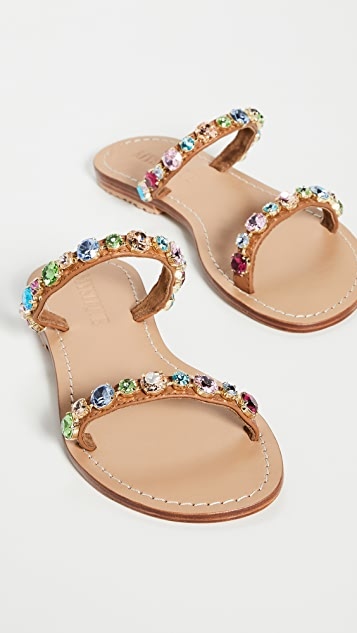 Mystique 双固定带多色珠宝凉拖鞋
