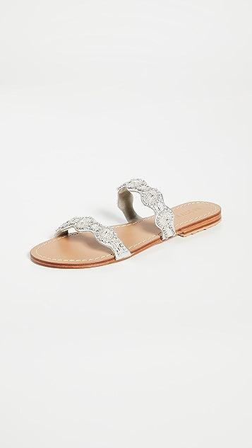 Mystique 双固定带水晶刺绣凉拖鞋