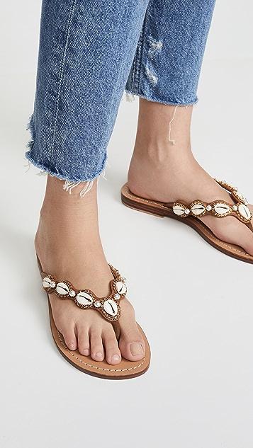 Mystique 贝壳刺绣凉拖鞋