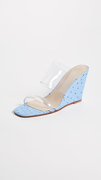 Maryam Nassir Zadeh Olympia Wedge Sandals - Blue Faux Ostrich