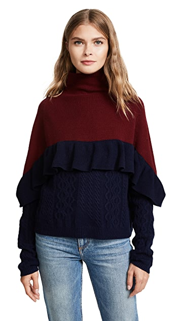 Naadam Ruffle Mock Neck Cable Pullover