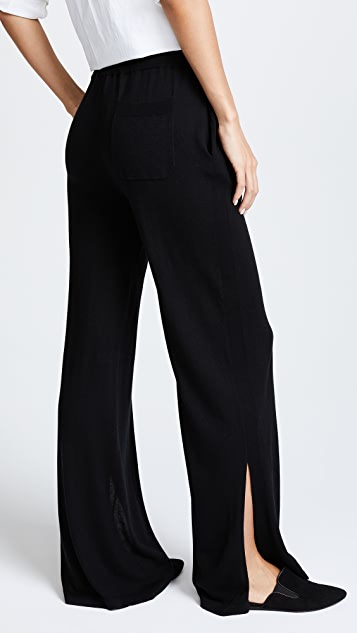 Naadam Wide Leg Knit Pants with Slits