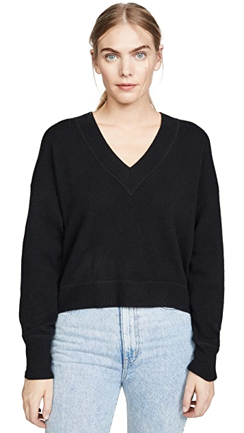 Naadam Deep V Crop Cashmere Sweater