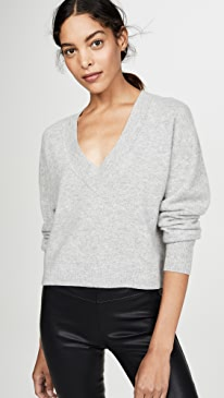 Deep V Crop Cashmere Sweater
