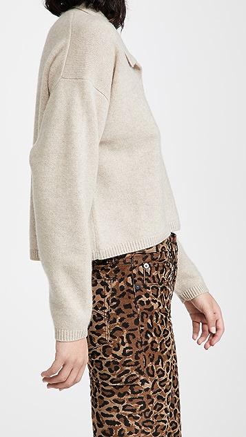 Naadam V Neck Cashmere Polo Sweater