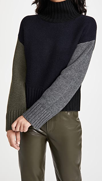 Naadam Colorblocked Crop Turtleneck