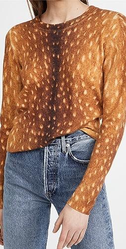 Naadam - Animal Print Crew Neck Cashmere Sweater