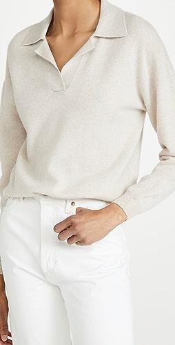 Naadam - Long Sleeve V Neck Cashmere Polo