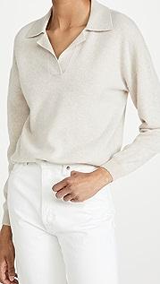 Naadam Long Sleeve V Neck Cashmere Polo