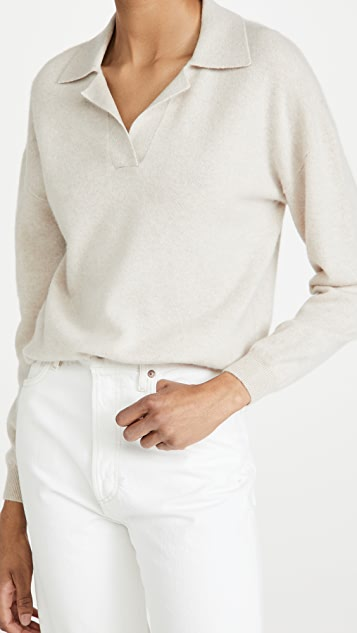Naadam Long Sleeve V Neck Cashmere Polo