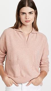 Naadam 口袋设计开司米羊绒四分之一拉链系扣毛衣