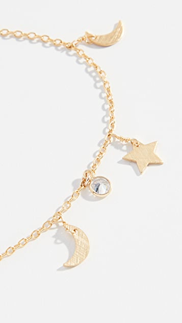 Native Gem Star and Moon Anklet