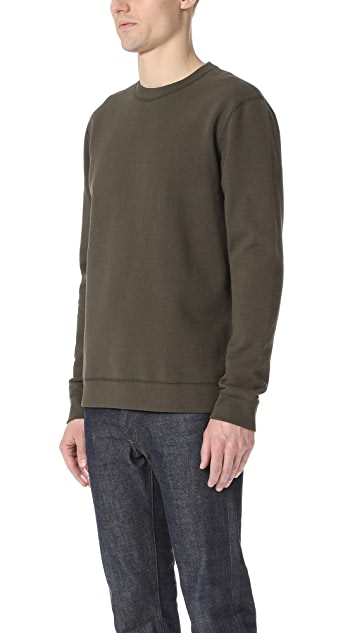 Naked & Famous Slim Crew - French Terry Dark Green Sweatshirt