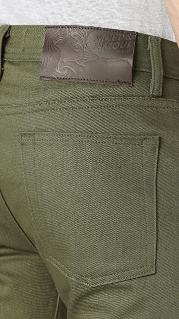 Naked & Famous Weird Guy - Khaki Green Selvedge Chino Jeans