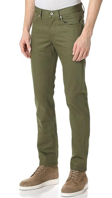 Naked & Famous Weird Guy - Khaki Green Selvedge Chino Jeans