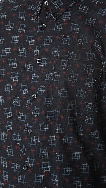 Naked & Famous Kasuri Print Shirt