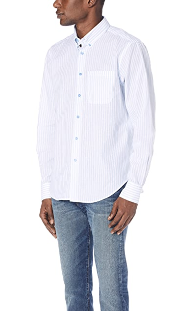Naked & Famous Striped Button Up Shirt