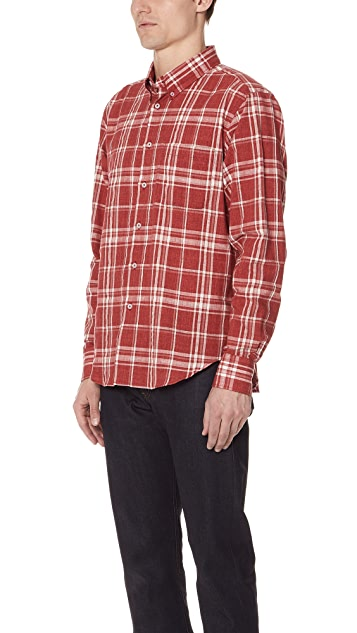 Naked & Famous Faded Plaid Hemp Blend Shirt