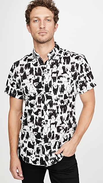 Naked & Famous Funny Cats Short Sleeve Easy Shirt