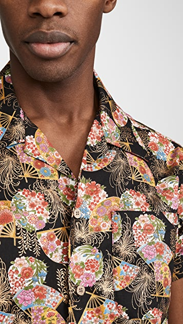 Naked & Famous Golden Floral Fans Aloha Shirt