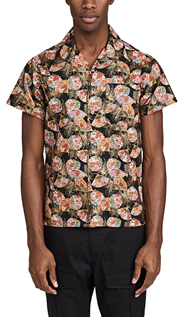 Naked & Famous Golden Floral Fans Aloha Shirt