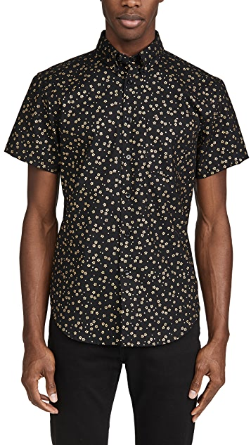Naked & Famous Japanese Golden Flowers Short Sleeve Easy Shirt