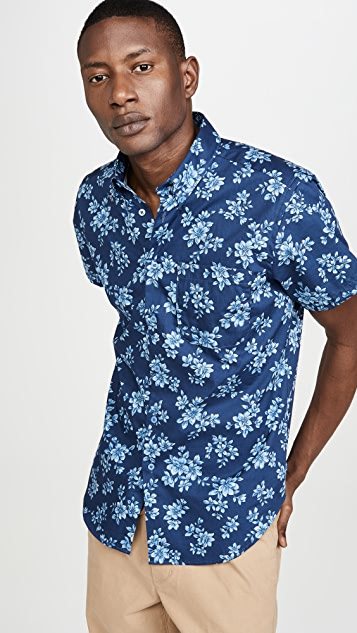 Naked & Famous Floral Sketch Short Sleeve Easy Shirt