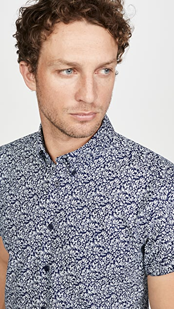 Naked & Famous Indigo Romantic Flowers Short Sleeve Easy Shirt